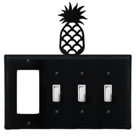 Wrought Iron Pineapple Combination Cover - GFI with Triple Switch