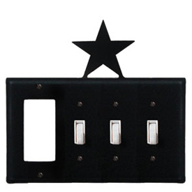 Wrought Iron Star Combination Cover - GFI with Triple Switch
