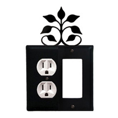 Wrought Iron Leaf Fan Combination Cover - Single Left Outlet with Single Right GFI