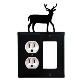Wrought Iron Deer Combination Cover - Single Left Outlet with Single Right GFI