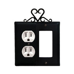 Wrought Iron Heart Combination Cover - Single Left Outlet with Single Right GFI