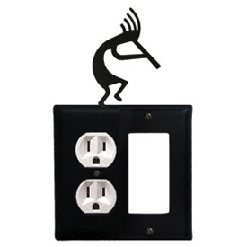 Wrought Iron Kokopelli Combination Cover - Single Left Outlet with Single Right GFI