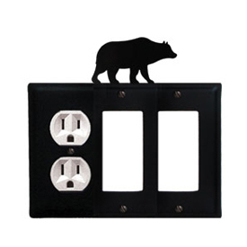 Wrought Iron Bear Combination Cover - Single Left Outlet with Double Right GFI