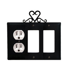 Wrought Iron Heart Combination Cover - Single Left Outlet with Double Right GFI