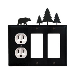 Wrought Iron Bear Combination Cover - Single Left Outlet with Double Right GFI Pine Trees