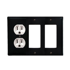 Wrought Iron Plain Combination Cover - Single Left Outlet with Double Right GFI