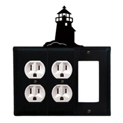 Wrought Iron Lighthouse Combination Cover - Double Outlets with Single GFI