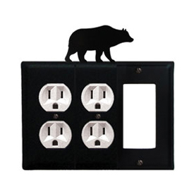 Wrought Iron Bear Combination Cover - Double Outlets with Single GFI
