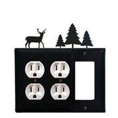 Wrought Iron Deer Combination Cover - Double Outlets with Single GFI Pine Trees