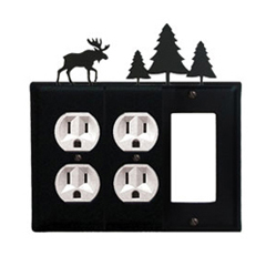 Wrought Iron Moose Combination Cover - Double Outlets with Single GFI Pine Trees