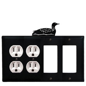 Wrought Iron Loon Combination Cover - Double Outlets with Double GFI