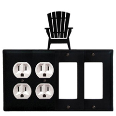 Wrought Iron Adirondack Combination Cover - Double Outlets with Double GFI