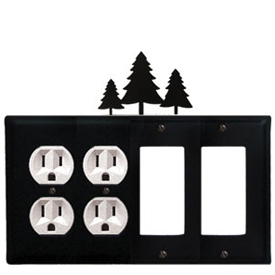 Wrought Iron Pine Trees Combination Cover - Double Outlets with Double GFI