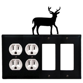 Wrought Iron Deer Combination Cover - Double Outlets with Double GFI