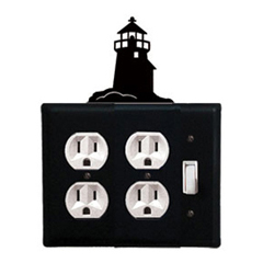 Wrought Iron Lighthouse Double Outlet with Single Switch Combination Cover