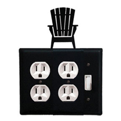 Wrought Iron Adirondack Double Outlet with Single Switch Combination Cover