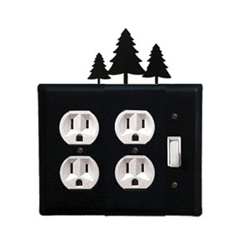 Wrought Iron Pine Trees Double Outlet with Single Switch Combination Cover