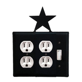Wrought Iron Star Double Outlet with Single Switch Combination Cover