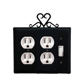 Wrought Iron Heart Double Outlet with Single Switch Combination Cover