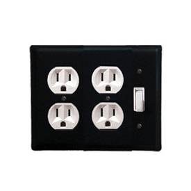 Wrought Iron Plain Double Outlet with Single Switch Combination Cover