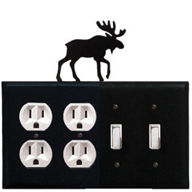 Wrought Iron Moose Combination Cover - Double Outlet with Double Switch