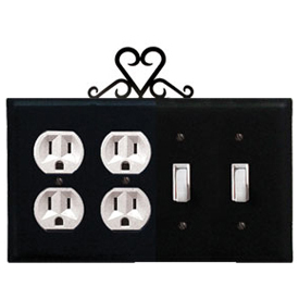 Wrought Iron Heart Combination Cover - Double Outlet with Double Switch