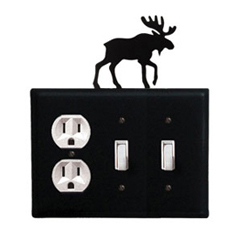 Wrought Iron Moose Combination Cover - Single Outlet with Double Switch