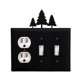 Wrought Iron Pine Trees Combination Cover - Single Outlet with Double Switch