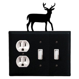 Wrought Iron Deer Combination Cover - Single Outlet with Double Switch