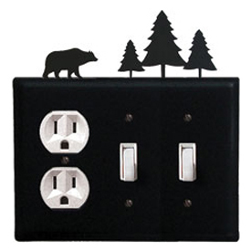 Wrought Iron Bear Combination Cover - Single Outlet with Double Switch Pine Trees