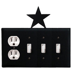 Wrought Iron Star Combination Cover - Single Outlet with Triple Switch