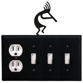 Wrought Iron Kokopelli Combination Cover - Single Outlet with Triple Switch