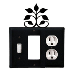 Wrought Iron Leaf Fan Combination Cover - Switch, GFI and Outlet
