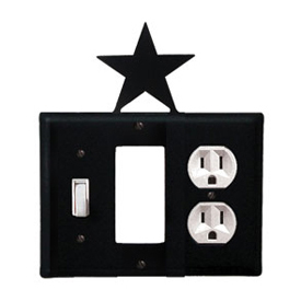 Wrought Iron Star Combination Cover - Switch, GFI and Outlet
