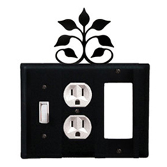 Wrought Iron Leaf Fan Combination Cover - Switch, Outlet and GFI