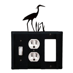 Wrought Iron Heron Combination Cover - Switch, Outlet and GFI