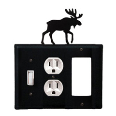 Wrought Iron Moose Combination Cover - Switch, Outlet and GFI