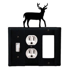 Wrought Iron Deer Combination Cover - Switch, Outlet and GFI