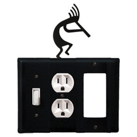 Wrought Iron Kokopelli Combination Cover - Switch, Outlet and GFI
