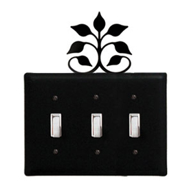 Wrought Iron Leaf Fan - Switch Cover Triple