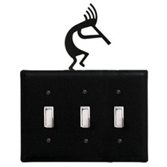 Wrought Iron Kokopelli - Switch Cover Triple