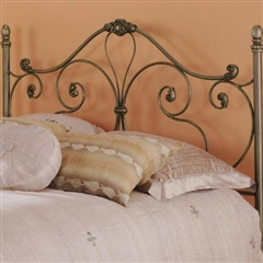Aynsley Iron Headboard with intricate scroll work and Majestique Finish