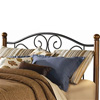 Doral Iron Headboard Matte Black Finish Wooden Walnut Posts