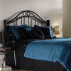 Linden Iron Headboard Ebony Finish Contemporary Curved Rails