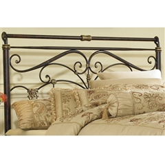 Lucinda Iron Headboard Marbled Russet Traditional Scroll Work