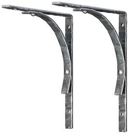 Pictured here is the 1 inch wide handcrafted Hammered Crescent Wrought Iron shelf bracket with a matte clear finish.