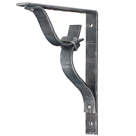 Pictured here is the 1.5 inch wide hand-forged Clifton Wrought Iron Corbel with a matte clear finish.