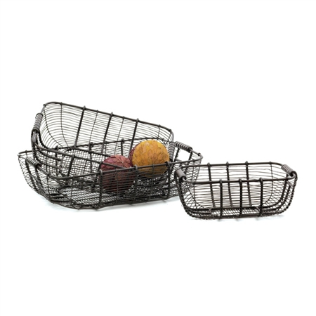 Pictured here is a set of 3 Wire Metal Baskets for decoration or storage.