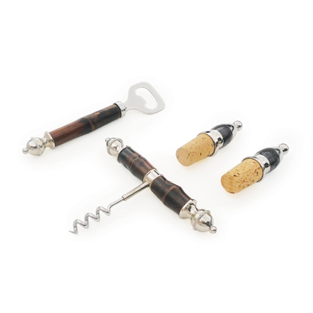 Pictured here is the Bamboo Cork and Bar Tool Set with wine bottle opener, bottle opener and 2 cork wine bottle stoppers.