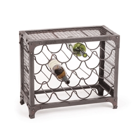 Pictured here is the industrial style 12 bottle wine rack with vintage iron finish.